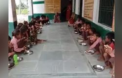 Students given roti and salt under midday meal scheme Mirzapur UP