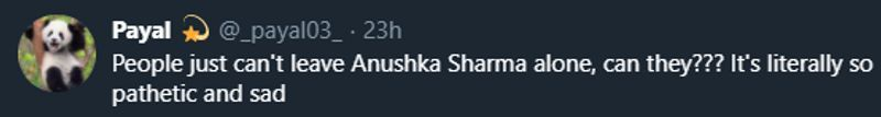 <p>Same goes for this user, who stood by Anushka's side.</p>